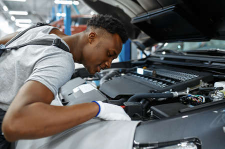 Male mechanic checks engine, car service Zdjęcie Seryjne - 168382959