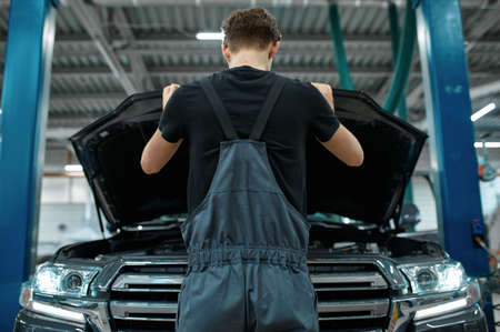 Mechanic at opened hood, bottom view, car service Zdjęcie Seryjne