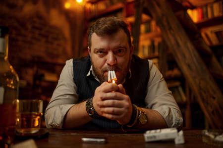 Crazy man smokes three cigarettes at the same time