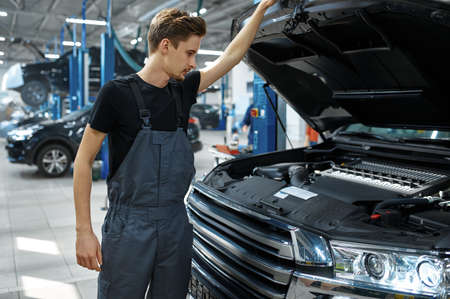 Mechanic at opened hood, bottom view, car service Imagens