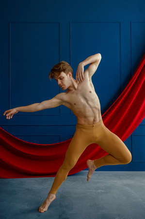 Male ballet dancer, training in dancing class
