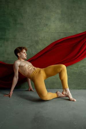 Male ballet dancer doing exercise, dancing studio