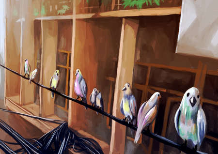 wires: illustration digital painting birds on wire Stock Photo