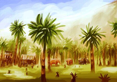 palmtrees: illustration digital painting rural landscape