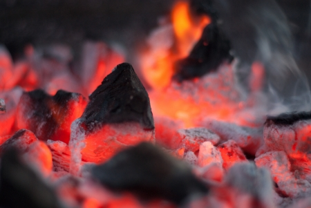 ardent: A fire with already ardent embers Stock Photo