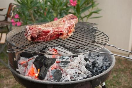 prime rib: Prime rib on barbecue Stock Photo