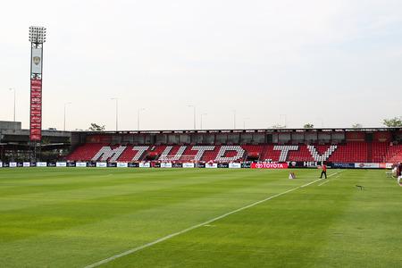 BANGKOK, THAILAND-MA Y 4 Het landschap van SCG Stadium voor de wedstrijd tussen MTUTD en Suphanburi FC in SCG Stadium op 4 mei 2014 in Bangkok, Thailand