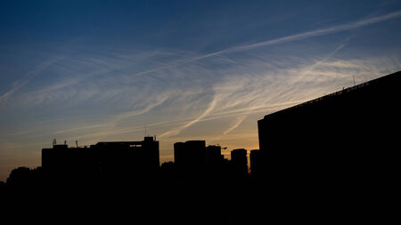 The landscape of city in Netherlands in beautiful twilight sky  photo
