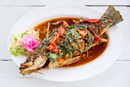 Thai spicy fried fish  photo