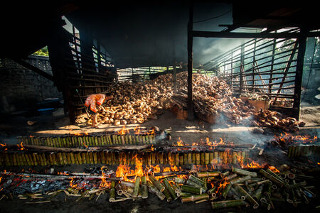 chonburi: The traditional cooking white bamboo in Thailand. Editorial