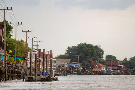 nonthaburi province: NONTHABURI,THAILAND-JULY 6: The landscape of traditional riverside city in Nonthaburi province taken on July 6,2015 in Thailand.