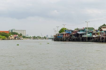 riverside landscape: NONTHABURI,THAILAND-JULY 6: The landscape of traditional riverside city in Nonthaburi province taken on July 6,2015 in Thailand.