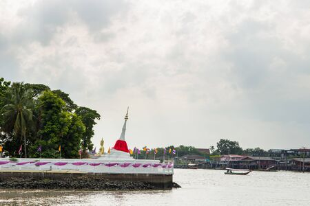 nonthaburi province: NONTHABURI,THAILAND-JULY 6: The landscape of traditional riverside pagoda in Ko-Kred island in Nonthaburi province taken on July 6,2015 in Thailand.