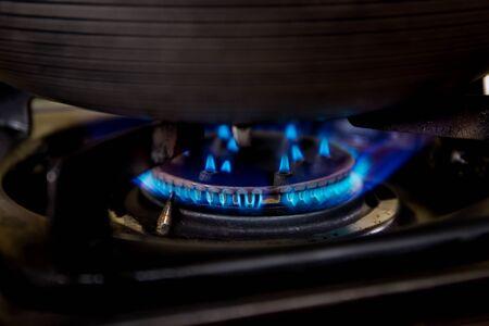 Gas stove close up.
