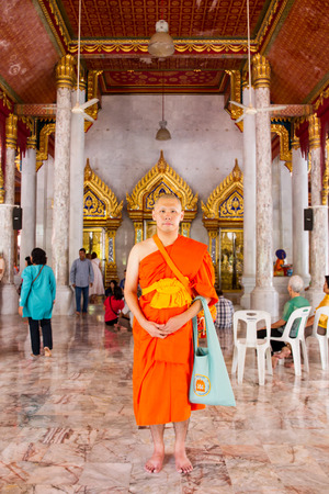 thailand culture: BANGKOK,THAILAND-JUL 24: The portrait of young monk in Thailand culture taken on Jul 24, 2015