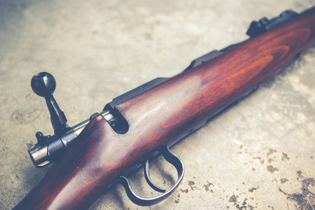 cal: .22 Cal long rifle close up.Vintage colour filtered Stock Photo