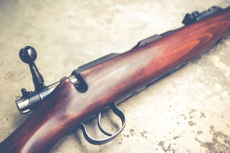 cz: .22 Cal long rifle close up.Vintage colour filtered Stock Photo