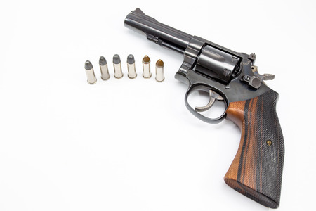 38 caliber: Image of .38 Cal Revolver close up isolated.
