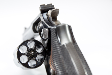 cal: Image of .38 Cal Revolver close up isolated.