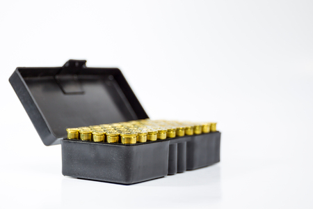 38 caliber: Image of .38 Cal in box isolated.