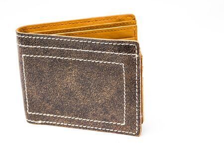 lather: Old classic lather wallet isolated.
