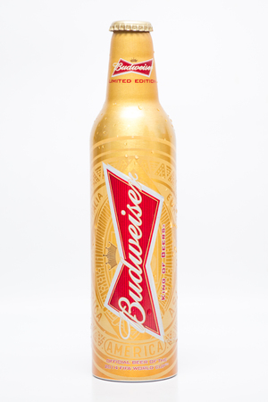 budweiser: BANGKOK,THAILAND-JUNE 4: Image of Budweiser beer in FIFA World Cup limited edition, Taken on June 4,2016 In Bangkok, Thailand.