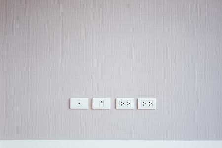 plug socket: Plug socket in wall close up. Stock Photo