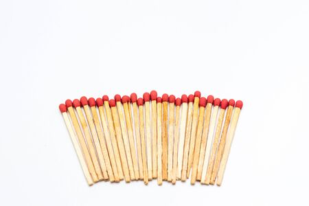 danger box: Matches stick on white background isolated close up. Stock Photo