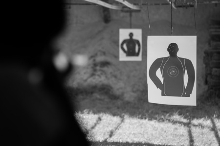 common target: Basic human shooting target close up.(Processed in black and white colour tone)