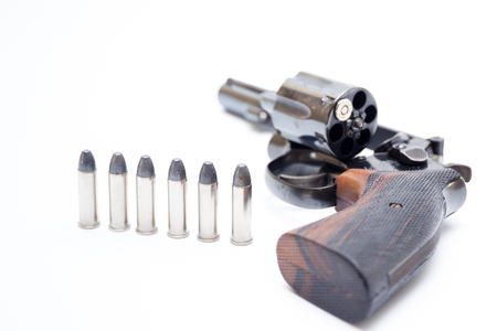 .38 Revolver hand gun isolated on white background close up.