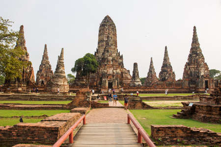 AYUTTHAYA-THAILAND, JAN 27,2018 : Landscape of the historical park, the popular landmark of Thailand during the tourist enjoying in photography. Editorial