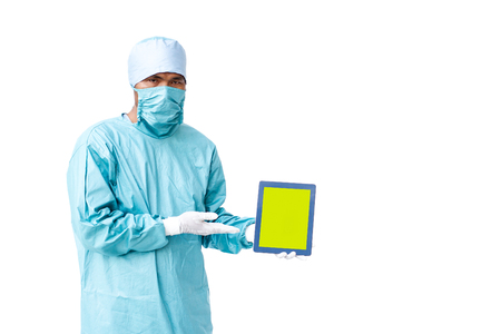 Specialist doctor showing the report on tablet close up isolated on white background.