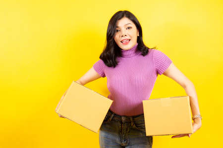 Asian girl's portrait in e-commerce and parcel service concept.