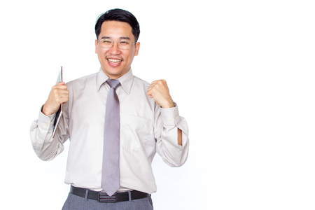 Business man holding a book on solid white clear background.