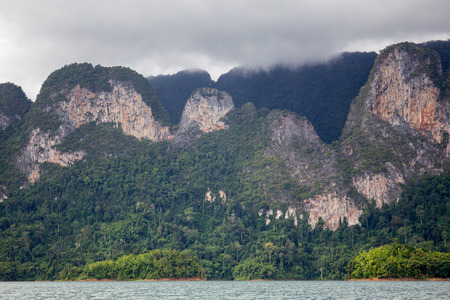 Landscape of a big mountain and lake whare fully with forest in tropical zone in Asia.