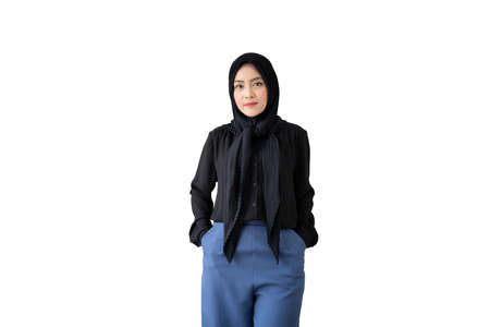 Isolated with clipping path. Smart and good looking Asian ethnicity Muslim businesswoman portrait. Diversity in ethnicity and religion in businesspeople  concept and occupation in career 免版税图像