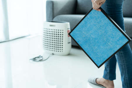 Beautiful Asian young woman holding a HEPA carbon air purifier filter in living room, woman prepare a air purifier filter to be replace the old one. Healthcare and good living lifestyle concept. Reklamní fotografie