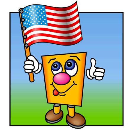 goldy:  'Goldy ' con la bandiera Stati Uniti d'America, rompendo il telaio  Archivio Fotografico