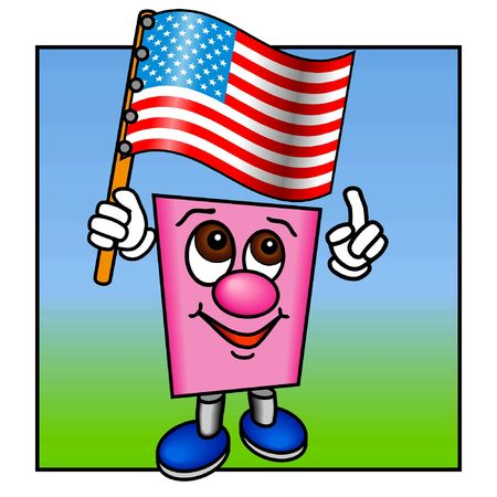 Pinky with the USA flag, breaking the frame photo