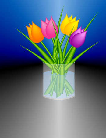 Stylized tulips in a cylindric glass vase. photo