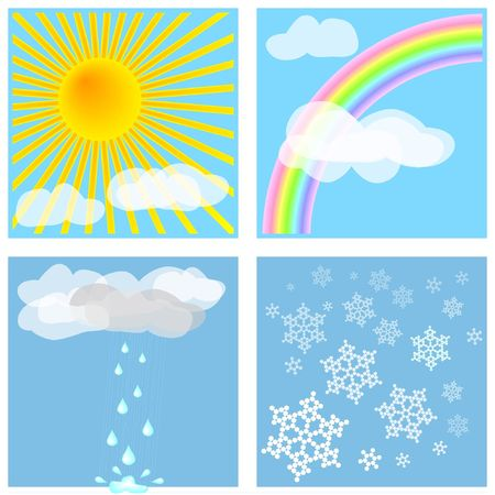 forecasts: Four different weather types for decoration, backgrounds, weather forecasts, etc.