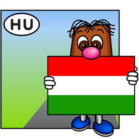 brownie: Brownie Carrying the Flag of Hungary Stock Photo