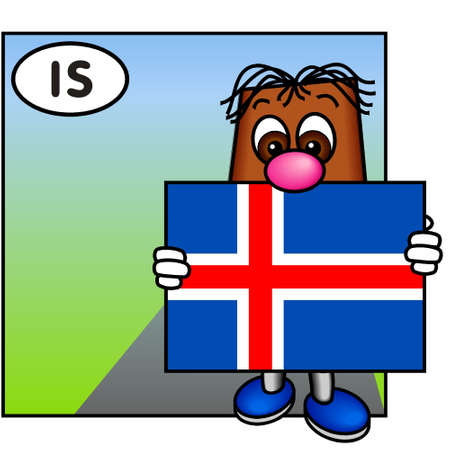 brownie: Brownie Showing the Flag of Iceland