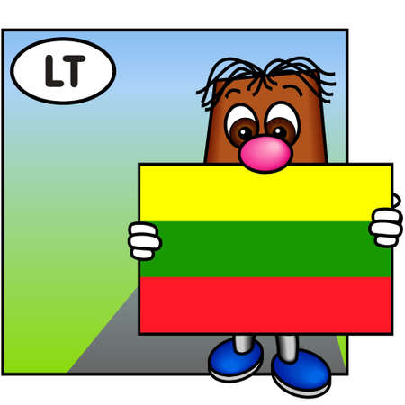 brownie: Brownie Presenting the Flag of Lithuania Stock Photo
