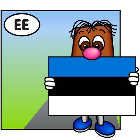 brownie: Brownie Presenting the Estonian Flag