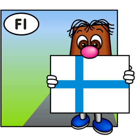brownie: Brownie Presenting the Flag of Finland Stock Photo