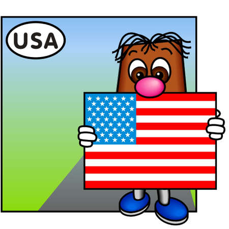 brownie: Brownie Showing the American Flag, the StarsnStripes
