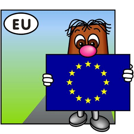 brownie: Brownie Bearing the Flag of the European Union Stock Photo
