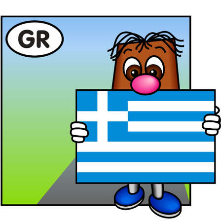 Brownie Showing the Flag of Greece photo