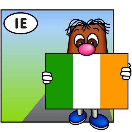 brownie: Brownie Presenting the Flag of Ireland